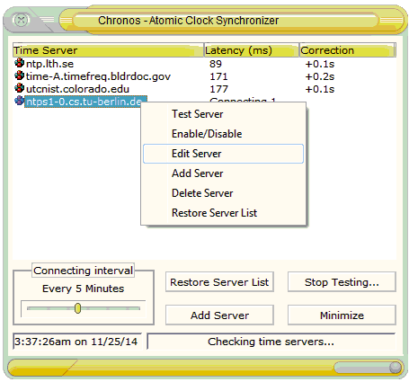 Chronos Atomic Clock Synchronizer Screen shot
